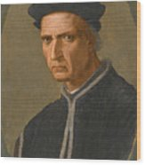 Portrait Of Piero Soderini Half Length Wearing A Black Coat And A Black Hat Wood Print