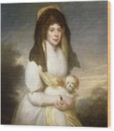 Portrait Of Queen Charlotte Three-quarter Length In A White Dress A Yellow Shawl And Black Mantilla Holding A Maltese Dog Sir Henry William Beechey Wood Print
