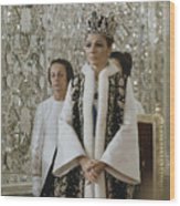 Portrait Of Queen Farah Pahlavi Dressed Wood Print by James L. Stanfield
