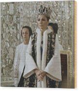 Portrait Of Queen Farah Pahlavi Dressed Wood Print
