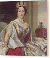 Portrait Of Queen Victoria Wood Print