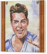 Portrait Of Ricky Martin Wood Print