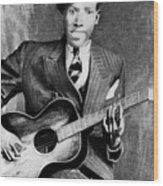 Portrait Of Robert Johnson Wood Print