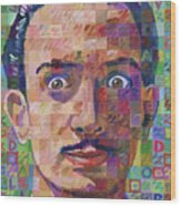 Portrait Of Salvador Dali Wood Print