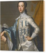Portrait Of Sir James Lowther 1st Earl Of Lonsdale Three Quarter Length Holding A Mask In His Right  Wood Print