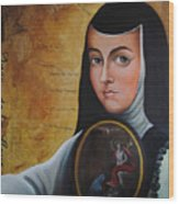 Portrait of Sor Juana Ines de la Cruz Wood Print