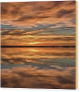 Portrait Of Sunrise Reflections On The Great Plains Wood Print
