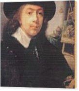 Portrait Of The Artist In His Studio Wood Print