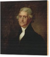 Portrait Of Thomas Jefferson Wood Print by Asher Brown Durand
