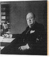 Portrait Of Winston Churchill  Wood Print