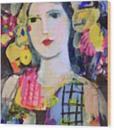 Portrait Of Woman With Flowers Wood Print