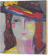 Portrait Of Woman With Vintage Hat Wood Print