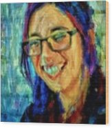 Portrait Painting In Acrylic Paint Of A Young Fresh Girl With Colorful Hair In A Library With Books  Wood Print