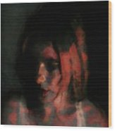 Portrait Painting Of Girl In Red Gray Black With Wistful Thoughts Of Fleeting Memories Wood Print