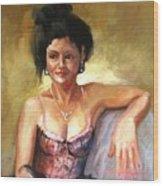 Portrait Sample Wood Print by Podi Lawrence