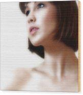 Portrait White  Wood Print