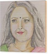 Portrait With Colorpencils 2 Wood Print