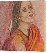 Portrait With Colorpencils Wood Print