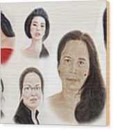 Portraits Of Lovely Asian Women II Wood Print