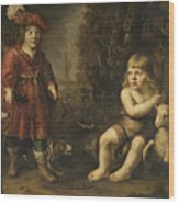 Portraits Of Two Boys In A Landscape One Dressed As A Hunter The Other St As John The Baptist Wood Print