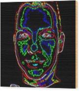 Portrait 09 On Black Wood Print