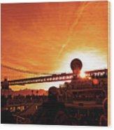 Sunset Under The 25 April Bridge Lisbon Wood Print