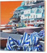 Positano Beach Pop Art Wood Print