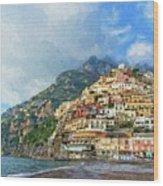 Positano Beach View Painting Wood Print