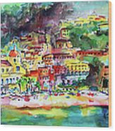 Amalfi Coast Positano Summer Fun Watercolor Painting Wood Print