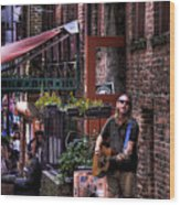Post Alley Musician Wood Print