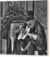 Post Alley Musician In Black And White Wood Print