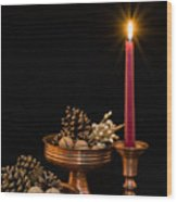 Post Card With Traditional Copper Dishes And Red Candle Wood Print