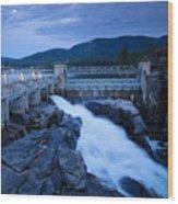 Post Falls Dam Wood Print