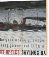Post Office Savings Bank - Steamliner - Retro Travel Poster - Vintage Poster Wood Print