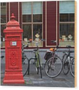 Postbox And Bicycles In Front Of The Diamond Museum In Bruges Wood Print