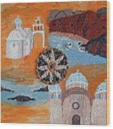 Postcard From Santorini Wood Print