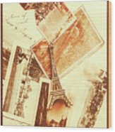 Postcards And Letters From The City Of Love Wood Print