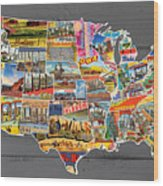 Postcards Of The United States Vintage Usa Lower 48 Map On Gray Wood Background Wood Print