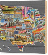 Postcards Of The United States Vintage Usa Map On Gray Wood Background Wood Print