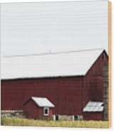 Poster Look American Red Barn With Silos I Niles Michigan Usa Wood Print