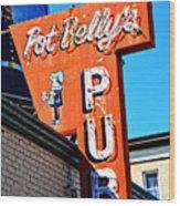 Pot Belly's Pub Sign Wood Print