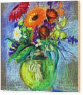 Pot Of Flowers Wood Print