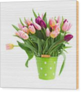 Pot Of Pink And Violet Tulips Wood Print