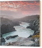 Potomac River At Great Falls Sunrise Landscape Wood Print