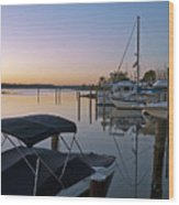 Potomac River At Sunrise Belle Haven Marina Alexandria Virginia Wood Print by Brendan Reals