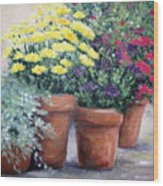 Pots In Bloom Wood Print