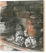 Pots Of A Fireplace Wood Print