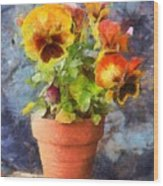 Potted Pansy Pencil Wood Print