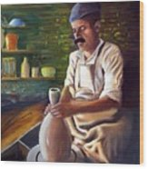 Potter At Work Wood Print