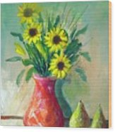 Pottery Vase And Flowers Wood Print